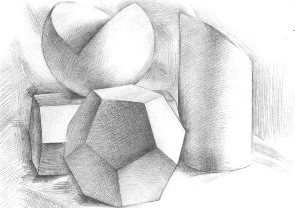 2013艺考美术生:几何形体组合素描写生步骤
